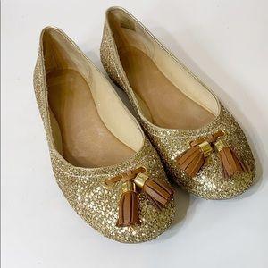 New Sperry Gold Glitter Flats 7.5